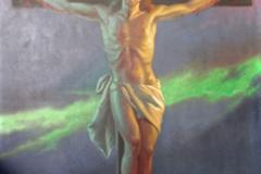Obraz Chrystusa na krzyżu. Malowidło Wł. Barwickiego (1930)