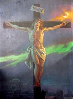 Painting of Jesus cros by Wł. Barwicki  about 1930
