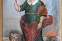 Obraz św. Tekli nieznanego malarza umieszczony na chorągwi procesyjnej (kościół w Stanach)