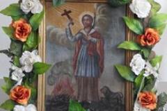 Feretron z XIX w. przedstawiający postać św. Tekli  (kościół w Stanach)